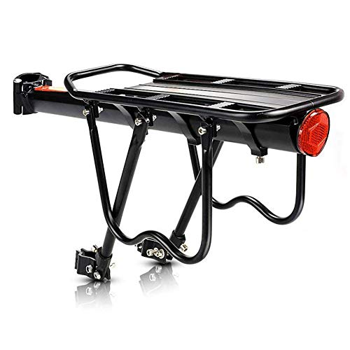 Wisfor Bike Rear Rack Carrier Universal Adjustable Bicycle Rear Luggage Touring Carrier Racks 50KG Capacity Adjustable Mountain Bicycle Back Seat Rack Holder with Reflector