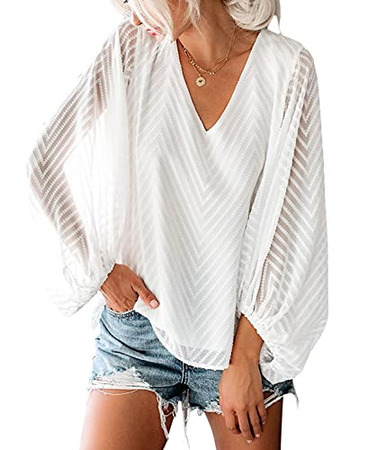 Damen Bluse Chiffon Elegant V-Ausschnitt Transparent Laternenärmel Oberteile Langarm Patchwork Hemd Casual Lose Tunika Tops(WH,3XL)
