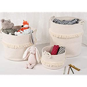 Woven Storage Baskets Cotton Rope Decorative Hamper for Nursery, Toys, Blankets, and Laundry, Cute Tassel Nursery Decor – Home Storage Container