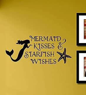 Mermaid Kisses and Starfish Wishes Beach Vinyl Wall Art Decal Sticker