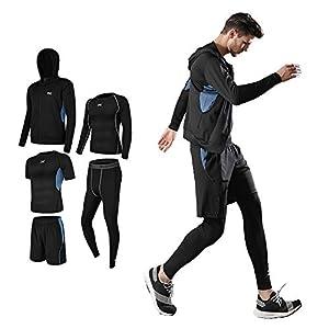 スポーツウェア メンズ コンプレッションウェア セット 吸汗 速乾 トレーニングウェア 長袖 半袖 ランニングウェア 姿勢矯正 メンズ ジャージ 上下セット 5点セット グレ