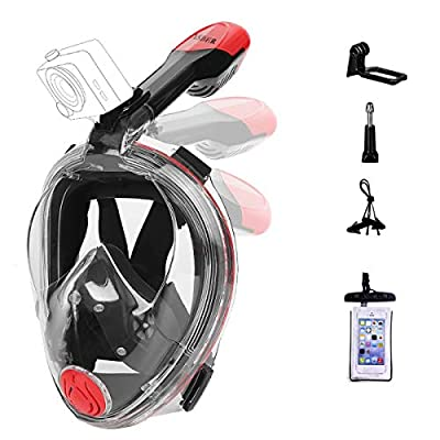 YSBER Full Face Snorkel Mask - 180 Seaview Snorkeling Mask with Action Camera Mount - Anti-Fog Anti-Leak Panoramic View Snorkel Set for Adults or Kids