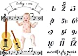 Baby Monthly Milestone Blanket Newborn Girls Photo Props Shoots Backdrop Personalized Music Note Violin Photography Growing Infants Toddlers Swaddle Blanket