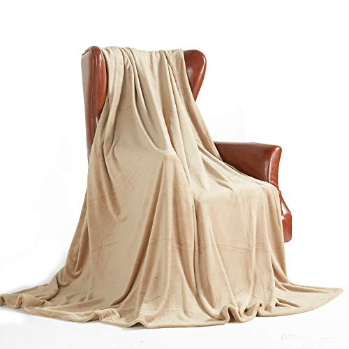 MERRYLIFE Throw Blanket for Couch|Ultra-Plush Soft Colorful Oversized | Chair Travel Plush Blanket Throws | King Size(90' 102',Beige)