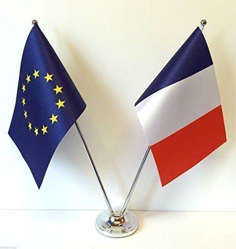 UE Union européenne & France drapeaux Chrome satiné-Drapeaux de bureau et Set de Table