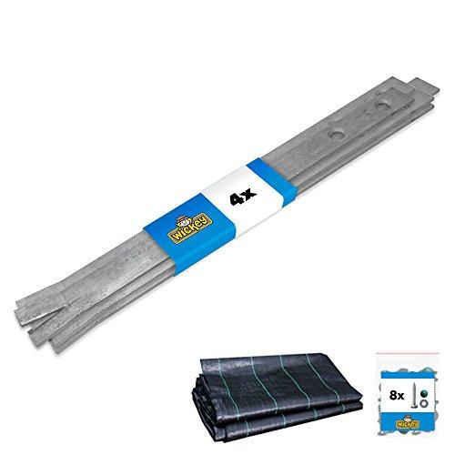 WICKEY Bodenanker Erdanker Anker-Set SimpleLock 4 Stk. für Spielturm & Schaukel inkl. Unkrautvlies, Anker, Pfostenanker für Klettergerüst & Gartenzaun