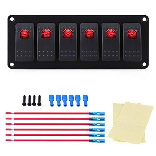 Panel de interruptor basculante, panel de interruptor basculante LED rojo de 12-24 V y 6 bandas para coche, vehículo recreativo, barco, yate, PPT marino, panel de aluminio para PC