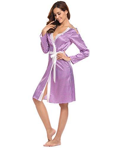 Damen Morgenmantel Kimono Satin Bademantel Schlafmantel Robe Taschen V-Ausschnitt Sleepwear Saunamantel Sexy Viskose Leicht Satin S M L XL XXL