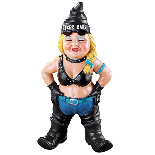 Collections Etc Biker Garden Gnome Figurine with Motorcycle Leather Gear and Tattoos - Hand-Painted Yard Statue, Biker Babe