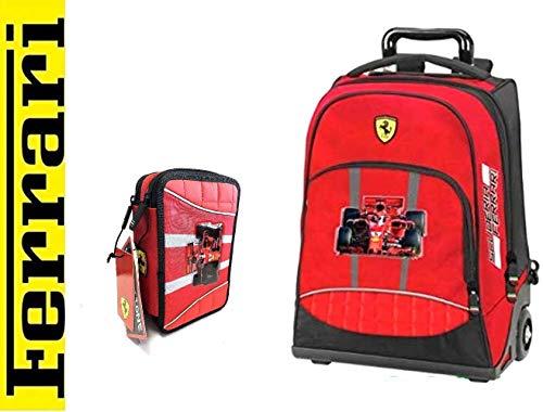 Trolley Zaino Ferrari organizzato Rosso + Astuccio 3 Zip Completo + Omaggio portachiave Fischietto + 10 Penne Colorate + segnalibro
