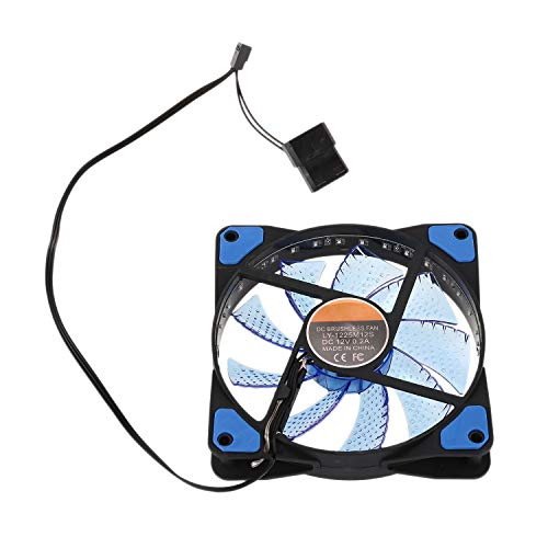 Gesh 120 mm ordenador PC 16dB Ultra Silencioso 33 LED carcasa disipador de calor enfriador con goma anti-vibración, ventilador de 12 cm, 12 VDC 3P IDE 4 pines, azul