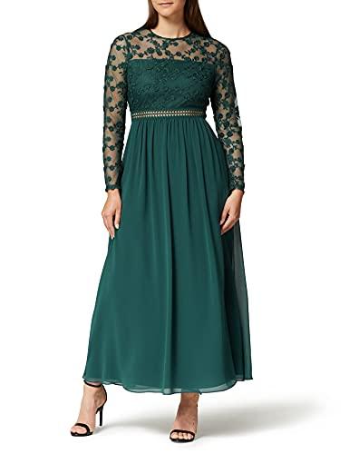 TRUTH & FABLE Damen Maxi A-Linien-Kleid aus Spitze, Grün (tiefes Blaugrün)., S