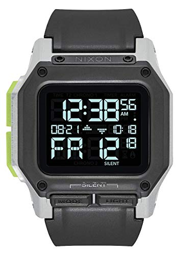 NIXON Regulus A1180 - Black/White/Lime - 100m Water Resistant Men's Digital Sport Watch (46mm Watch Face, 29mm-24mm Pu/Rubber/Silicone Band)