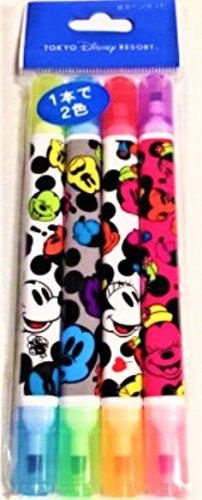 ディズニー 蛍光ペン 4本セット 1本で2色 カラフルフェイス ミッキー ミニー 蛍光ペンセット 東京 ディズニーリゾート TDR