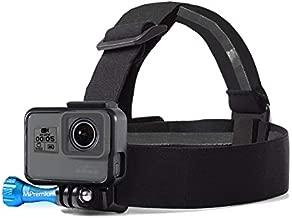 MiPremium Head Strap Mount Compatible with GoPro Hero (2018) Fusion Session Black Silver Hero 9 8 7 6 5 4 3 3+ 2 1 Sjcam Action Cameras Elastic Flexible Head Belt + Aluminum Thumbscrew (Head Strap)