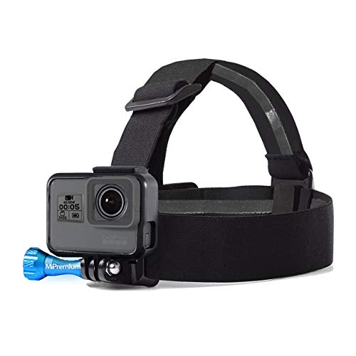 MiPremium Head Strap Mount Compatible with GoPro Hero (2018) Fusion Session Black Silver Hero 7 6 5 4 3 3+ 2 1 EK7000 Sjcam Action Cameras Elastic Flexible Head Belt + Aluminum Thumbscrew (Head Strap)
