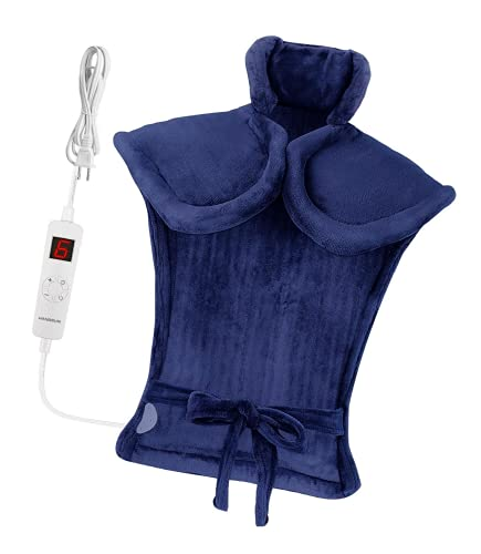 Hangsun Heating Pad for Back Pain and Cramps Relief Electric Heat Pads TP600 Neck and Shoulder Wrap with 6 Temperature and 3 Auto-Off Timer Settings, Overheating Protection - Extra Large 33'x24'