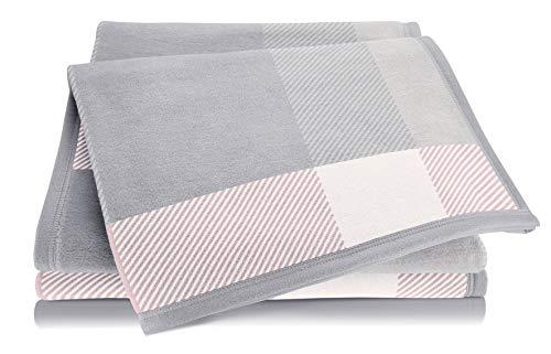 biederlack® Kuschel-Decke aus Baumwolle und Dralon I Made in Germany I Öko-Tex Made in Green I weiche Wohndecke Check rosa-grau kariert I leichte Couch-Decke I Sofa-Decke in 150x200 cm