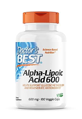 Doctor's Best, Alpha-Lipoic Acid (Alpha Liponsäure), 600 mg Depot, 2-Tages-Dosis, 180 vegane Kapseln, Hochdosiert, Laborgeprüft, Ohne Gentechnik, Glutenfrei