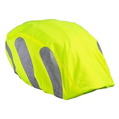 ECENCE 1x Helmüberzug Fahrradhelm - Helmüberzug Fahrrad - Regenhülle Fahrradhelm - Universal Helmschutz Fahrrad wasserdicht Neon mit Reflektorstreifen 11010208