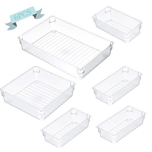 Scatola portaoggetti da scrivania trasparente,Organizer Cassetti Set,Cassetto Organizer Plastic Multifunzionale,Plastica Organizer Trucchi Cassetto (Trasparente / 6 pezzi)