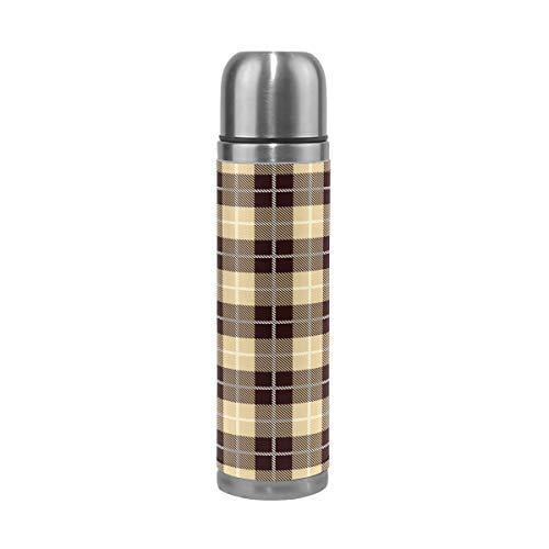 ALINLO Botella de agua de acero inoxidable a cuadros vintage marrón a