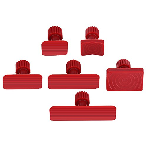 Terisass Paintless Dent Repair Tools 6Pcs Nylon Car Auto Body Dents Removal Pulling Tabs Kit Vehicle Universal Paintless Glue Puller Tabs Dent Puller Red