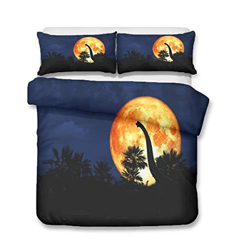 QWAS Juego de cama de 3 piezas con diseño de dinosaurios, sábana bajera con estampado de dinosaurios para niños, diferentes especificaciones (1,220 x 240 cm + 50 x 75 cm x 2)