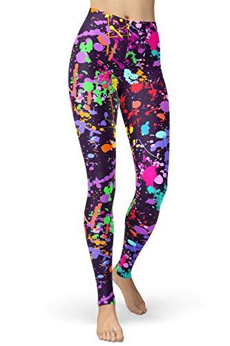 lulucheri 80er Leggings Damen Bunt Print Leggings Oil Painting Graffiti Yoga Strumpfhosen Sporthose Leggins Lang, Lila Farbe Graffiti, S/L (Taille 56cm-76cm)
