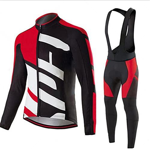 BEDSETS Abbigliamento Ciclismo Invernale Uomo, Tuta Bici Uomo Termico Maniche Lunghe Include Maglia Ciclista e Pantaloni MTB Elastici Termica per Bici da Strada e MTB (4XL,BF3)