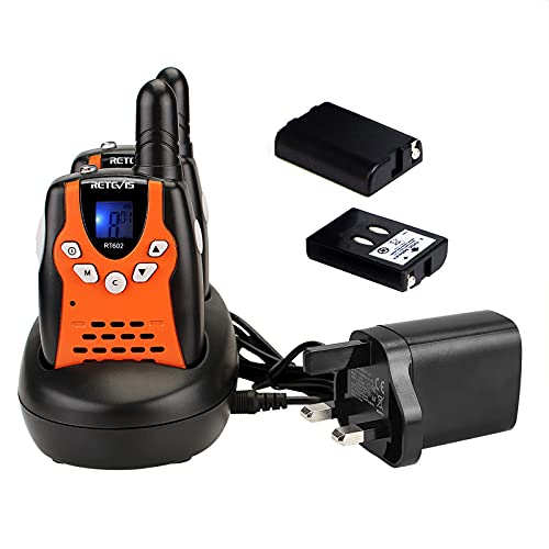 Retevis RT602 Kids Walkie Talkies Rechargeable,with Li-ion Batteries and Charger, 8 Channels Flashlight VOX, Long Range Children Toys for Indoor or Outdoor Activity (1 Pair, Orange)