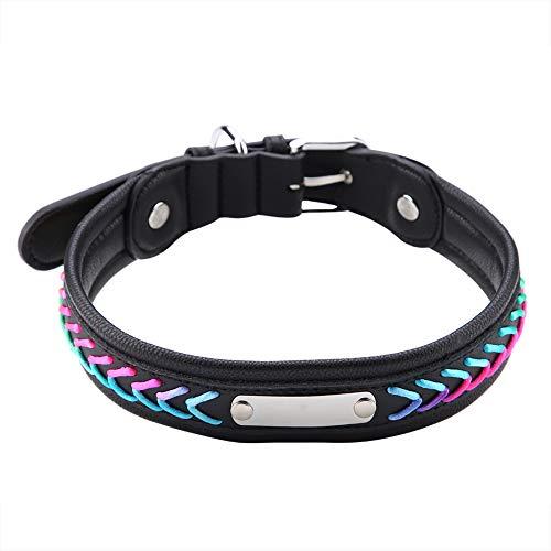SZHWLKJ Collar De Perro De Cuero Artificial Personalizado con Placa De Metal Grabado Colorido