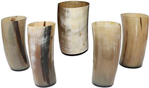 Bhartiya Handicrafts Real Game of Thrones Style Handmade Horn Viking Drinking Mug Cups Ale Beer Wine Medieval Inspired Vessel with Food Safe Coating for Beer, Ale 4 Inch (8)