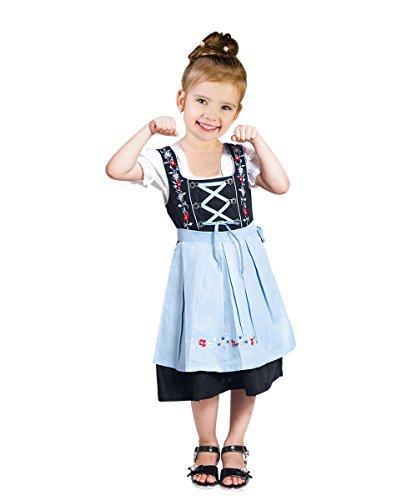 Kinder-Dirndl 3 teilig Dik06 Gr. 140, Trachten-Kleid hellblau-schwarz Dirndel-Bluse -Schürze für Oktober-Fest