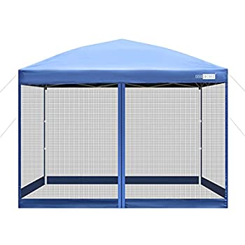 VIVOHOME 210D Oxford Outdoor Easy Pop Up Canopy Screen Party Tent with Mesh Side Walls Blue 8 x 8 Feet