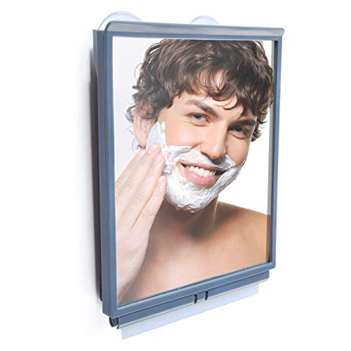 ToiletTree Products Travel/Dorm Fogless Shower Shaving Bathroom Mirror with Squeegee and Travel Bag, Travel, Gray