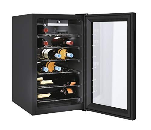 CANDY DiVino Cantinetta per Vino CWC 021 M/N 73 Litri, 21 Bottiglie, Conservazione da 7 a 18 °C, Interfaccia Meccanica, 6 Ripiani in Metallo, 39 d(B)A, Maniglie Integrate, Colore Nero