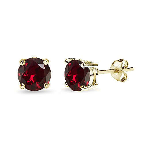 Yellow Gold Flashed Sterling Silver Synthetic Ruby 7mm Round-Cut Solitaire Stud Earrings