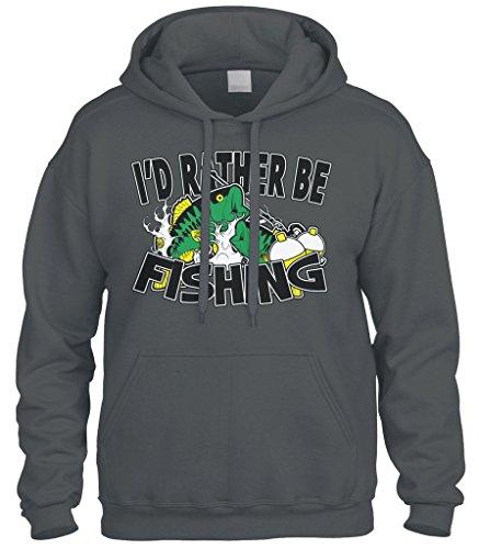 Cybertela I'd Rather Be Fishing Sweatshirt Hoodie Hoody (Charcoal, X-Large)