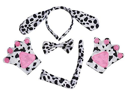 Petitebelle Diadema Bowtie Guantes de cola Disfraz de 4 piezas Un tamao perro dlmatas