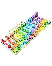 spier Houten puzzels voor peuters voor kinderen, kleur alfabet vorm nummer sorteren visspel speelgoed