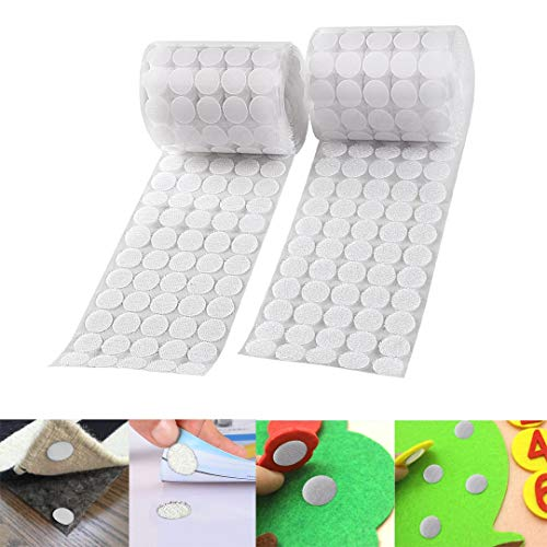 Saim Sticky Back Coins Hook and Loop Dots Self Adhesive Dot Tapes Roll 0.39Inch Diameter 1000pcs(500 Pair) - White