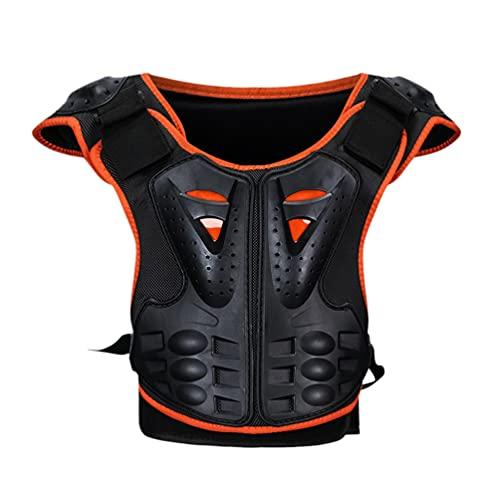 Baymate Chaleco de moto para niños, protector de pecho Racing Guard con protección para la espalda para patinar, patinar, esquiar, color naranja y negro, L