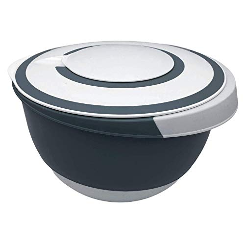 Rühr-Schüssel Rührtopf, Deckel mit Rühröffnung, gummierter Stopp-Boden, 5 Liter (Weiß/Blaugrau)