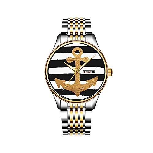 Reloj de hombre de cuarzo japonés con fecha de acero inoxidable, pulsera dorado, reloj de bruja en una escoba