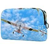 Bolsa de cosméticos para mujer, adorables bolsas de maquillaje espaciosas para viajes, bolsa de aseo de viaje, regalos El avión azul cielo blanco nubes