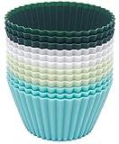 Outwit - Moldes de silicona estándar para magdalenas, 4 colores, 12 unidades, reutilizables, antiadherentes, sin BPA, para pasteles, crema y pudin