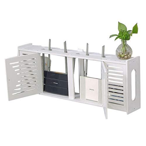 Caja de almacenamiento multifuncional para sala de estar, con ranuras inalámbricas, WiFi, caja de almacenamiento decorativa creativa (color blanco, tamaño: 76 x 12 x 28 cm)
