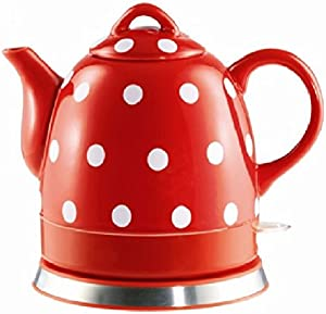 FixtureDisplays Ceramic Electric Kettle with Red White Polka Dots 13581