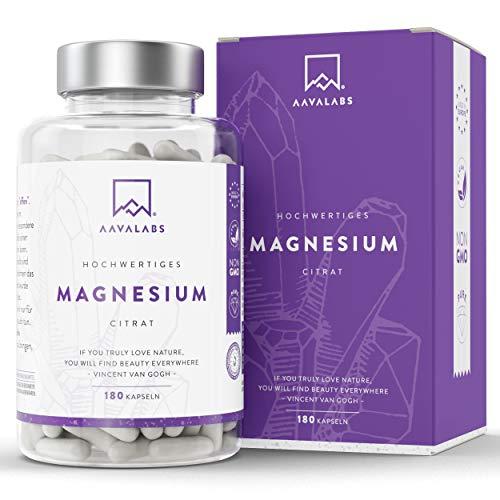 Magnesiumcitrat Kapseln [ 400 mg ] 180 Stück von AAVALABS - 100% Vegan & NON-GMO
